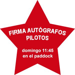 Firma autógrafos pilotos domingo 11:45 en el paddock